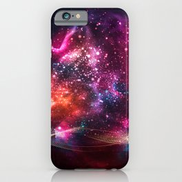 Abstract Nebula #14: Purple gold particles iPhone Case