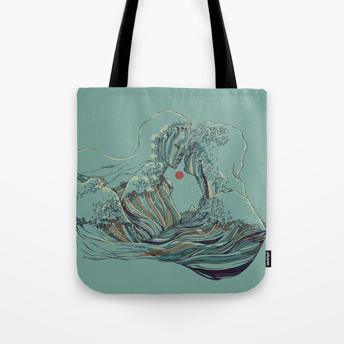 Kissing The Wave Tote Bag