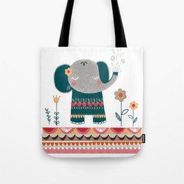 Elephant Folk Art Tote Bag