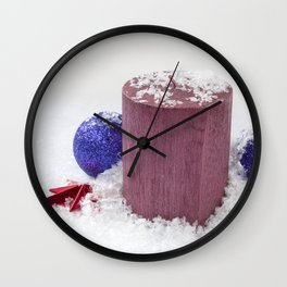 Christmas Candle Snow and Baubles Wall Clock