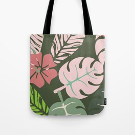 Tropical leaves green and pink paradises Tote Bag