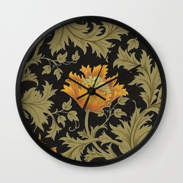 William Morris Yellow Flowers and Laurel Floral Textile Pattern Wall Clock