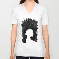 black swan V-neck T-shirts featuring Black Swan by Bill Pyle