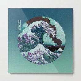 Great Wave Off Kanagawa Mount Fuji Eruption with Gradient  Metal Print