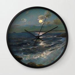 Twilight Moon coastal nautical landscape painting by Julius Olsson Wall Clock