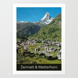 Retro Swiss travel Zermatt and Mount Matterhorn  Art Print