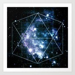 Galaxy Sacred Geometry Deep Ocean Blue Art Print