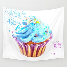 Cupcake watercolor illustration Wall Tapestry