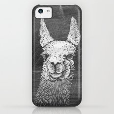 Black White Vintage Funny Llama Animal Art Drawing iPhone 5c Slim Case