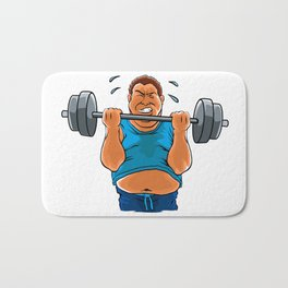 fat overweight man with dumbbell Bath Mat