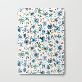 Blue watery hibiscus flowers - Tropical floral pattern Metal Print
