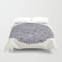 bedding Duvet Covers featuring Held Together - a pattern of navy blue doodles by micklyn