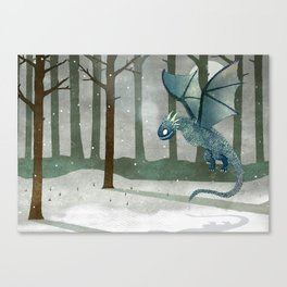 Ice Dragon in Forest Canvas Print