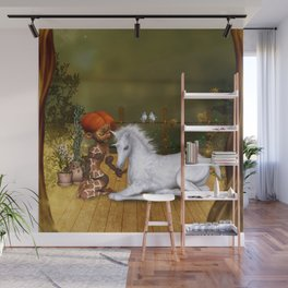 Little fairy with unicorn foal Wall Mural