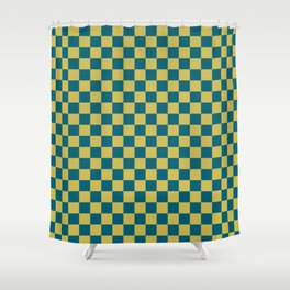 Dark Yellow and Tropical Dark Teal Inspired by Sherwin Williams 2020 Trending Color Oceanside SW6496 Small Checker Board Pattern Shower Curtain
