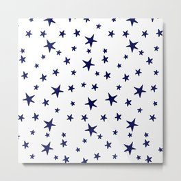 Stars - Navy Blue on White Metal Print