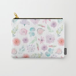 Pastel pink lilac watercolor hand painted modern floral Carry-All Pouch