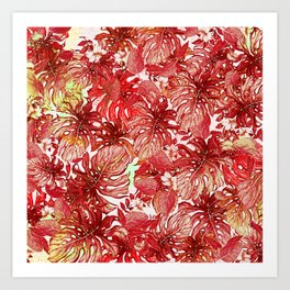 Tropical Foliage # Red Art Print