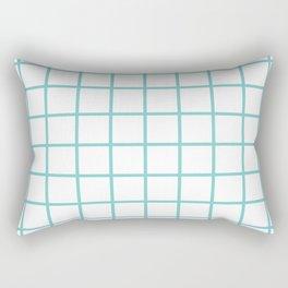 Aqua Grid Pattern Rectangular Pillow