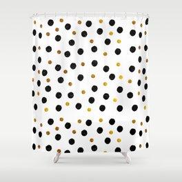 Black & Gold Glitter Confetti on white background- Elegant pattern Shower Curtain