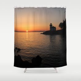 Lime Kiln Lighthouse Sunset Shower Curtain