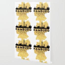 HAMBURG GERMANY SILHOUETTE SKYLINE MAP ART Wallpaper