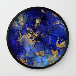 Gold And Blue Indigo Malachite Marble Wall Clock