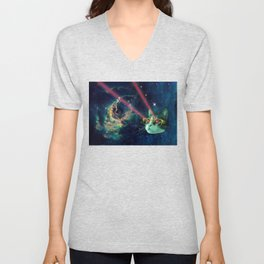 Laser cat with glasses in space Unisex V-Neck