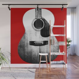 Guitar - Body, Red Background Wall Mural