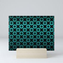 Retro. Black and turquoise satin ornament . Mini Art Print