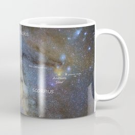 Star map version: The Milky Way and constellations Scorpius, Sagittarius and the star Antares. Coffee Mug