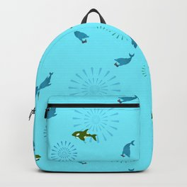 Blue Dolphin and Orca Backpack