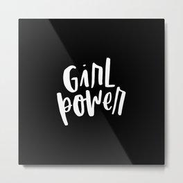 Girl Power 2 White and Black Metal Print