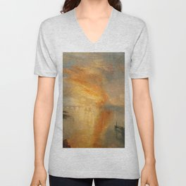"J.M.W. Turner ""The Burning of the Houses of Lords and Commons""(1835) Unisex V-Neck"