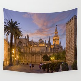 Seville, The Cathedral at dusk Wall Tapestry