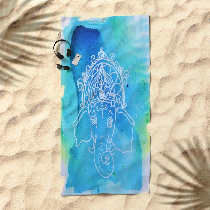 Watercolor Elephant Beach Towel