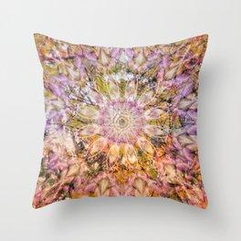 Joyful spring sunlight forming a floral mandala Throw Pillow