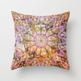 Joyful spring sunlight forming a floral mandala Throw Pillow