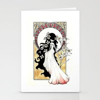 art nouveau Stationery Cards featuring Art Nouveau by Alexandra Banti