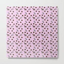 pink deer pattern Metal Print