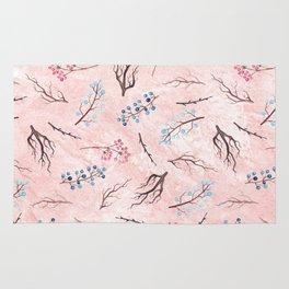 Watercolor coral brown blue pink floral marble Rug