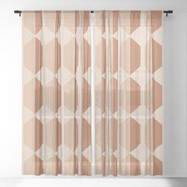Hexagonal Pattern VII Terracotta Sheer Curtain