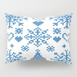 Christmas Cross Stitch Embroidery Sampler Teal And White Pillow Sham