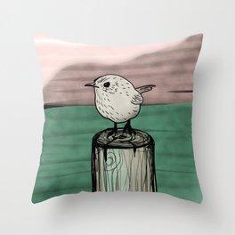 Lone Wren Throw Pillow