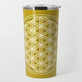 Flower of Life – Golds & White Travel Mug