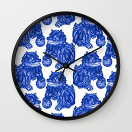 Chinese Guardian Lion Statues in Pottery Blue + White Wall Clock