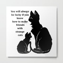 You Will Always Be Lucky If You Know How To Make Friends With Strange Cats Metal Print