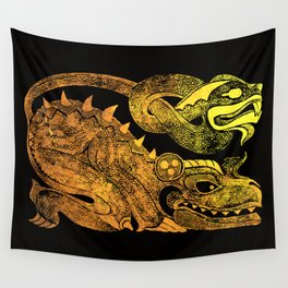 Golden two-headed dragon Wall Tapestry