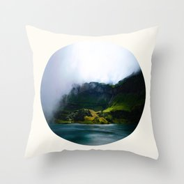 Mid Century Modern Round Circle Photo Green Cliffs Meeting Turquoise Waters Throw Pillow