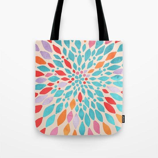 Radiant Dahlia - teal, orange, coral, pink watercolor pattern Tote Bag